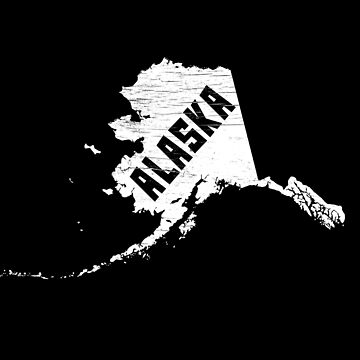 Alaska Home Vintage Distressed Map Silhouette by YLGraphics