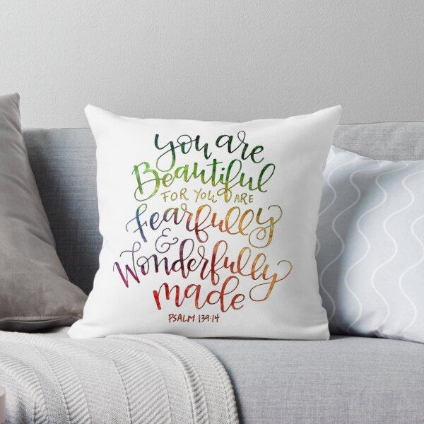 Rainbow Psalms 139:14 Throw Pillow