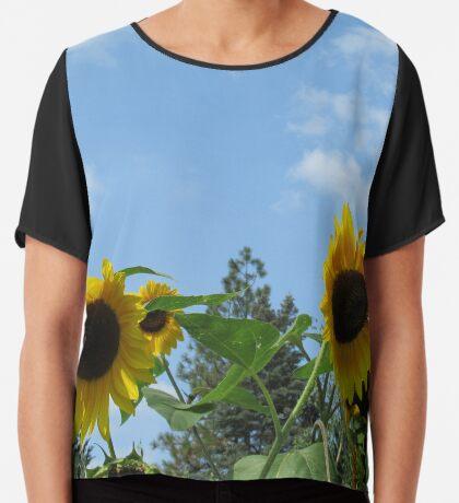 zauberhafte Sonnenblumen, Blüten, Blumen, Sommer, Sonne, Sonnenblume Chiffontop für Frauen