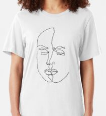 Aesthetic line draw T-shirt for men and women - Art lovers T-shirt Slim Fit T-Shirt