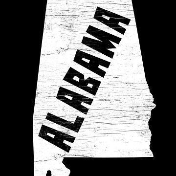 Alabama Home Vintage Distressed Map Silhouette by YLGraphics