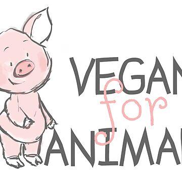 VEGAN FOR ANIMALS PIG by wiboandbear