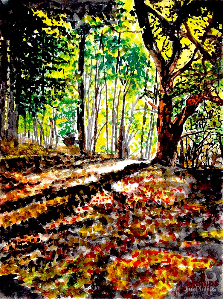 Watercolour of Poringland Woods, Norfolk by Jim Phillips