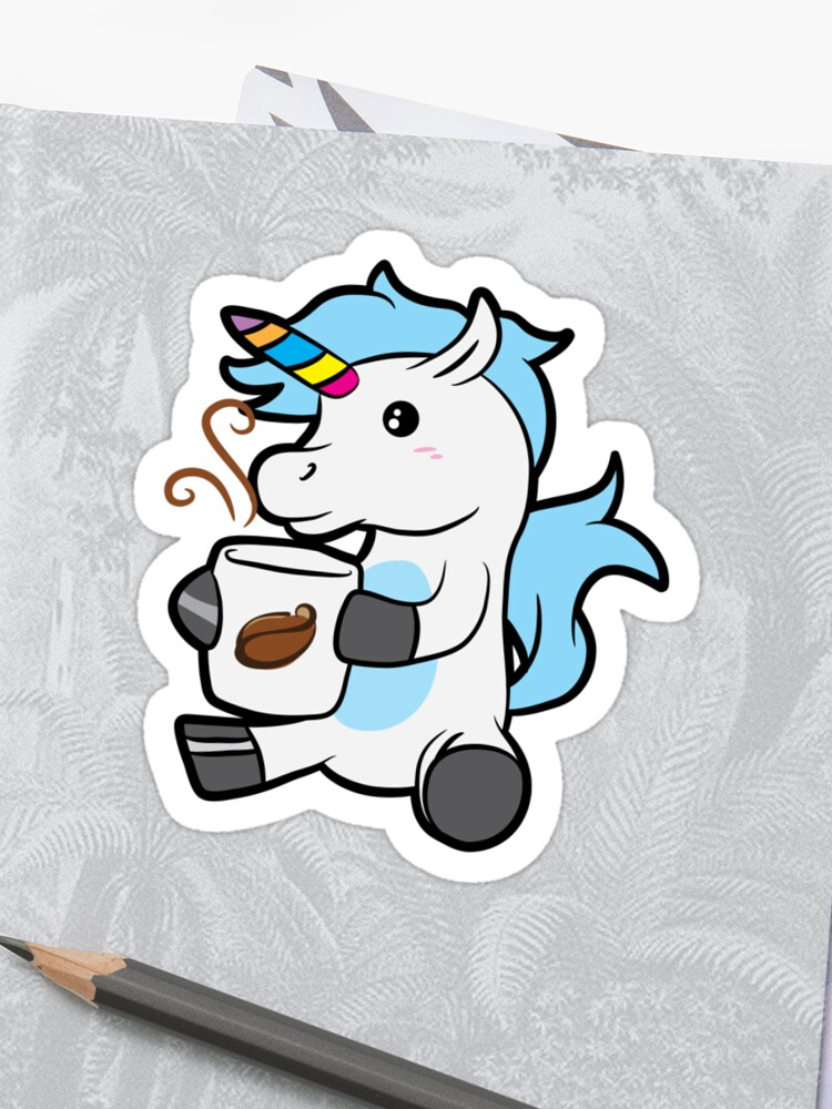 Coffee Lover Unicorn Birthday Gift Idea Sticker
