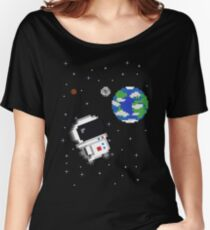 Fat Chibi Astronaut in Space Women's Relaxed Fit T-Shirt