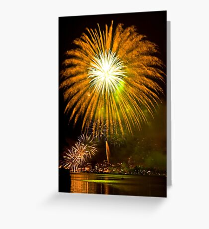 Single Sunflower Supernova - Sydney Harbour - New Years Eve - Midnight Fireworks  Greeting Card