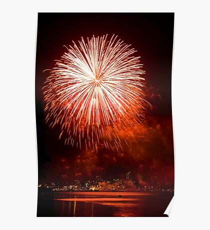 Red Light At Night - Sydney Harbour - New Years Eve - Midnight Fireworks  Poster