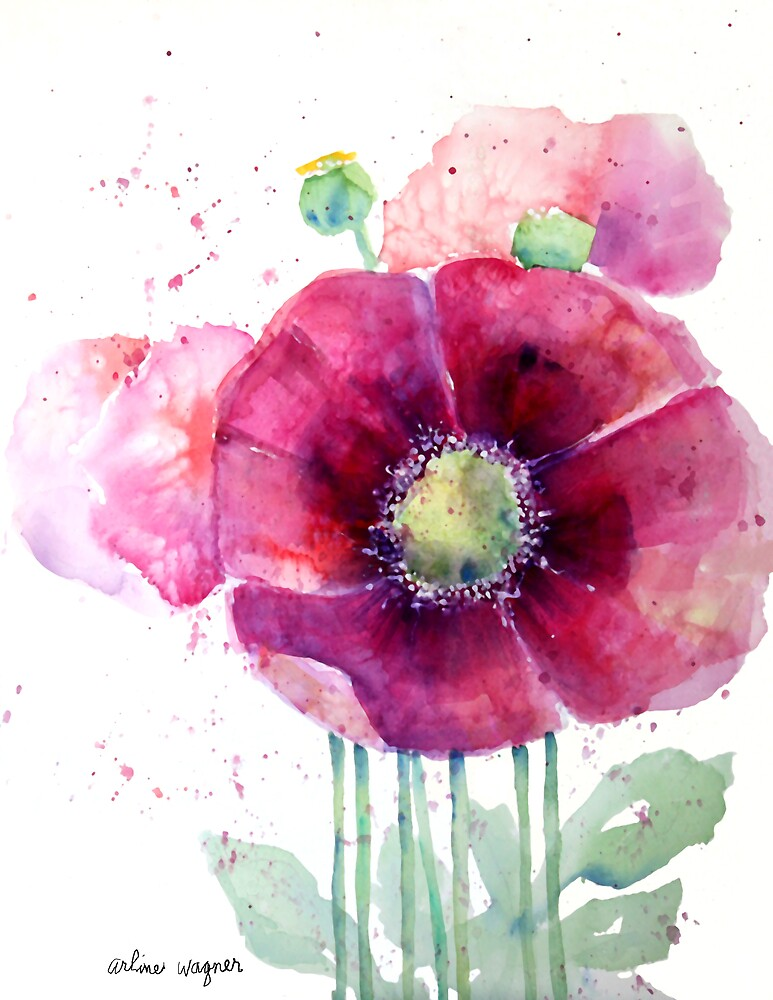 Pink Poppies by arline wagner