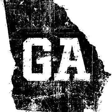 Distressed Georgia State Map GA Abbreviation by Chocodole