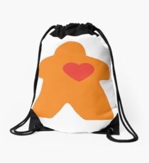 Meeple Love - orange Drawstring Bag