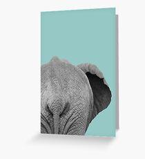 Elephant Wet Bum, Duck Egg Blue Greeting Card