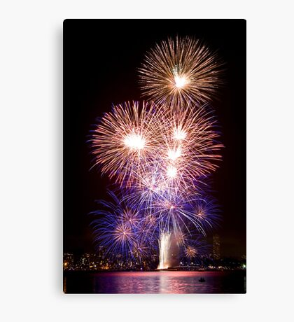 The First Bang - Sydney Harbour - New Years Eve - Midnight Fireworks Canvas Print