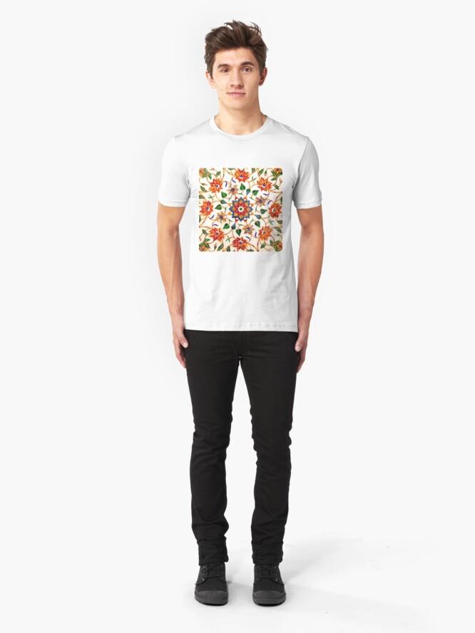 Vista alternativa de Camiseta ajustada Diseño Floral Taj Mahal