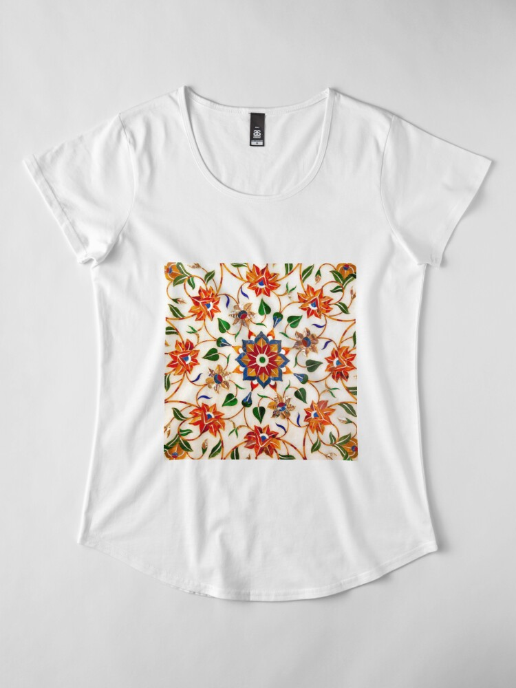 Vista alternativa de Camiseta premium de cuello ancho Diseño Floral Taj Mahal