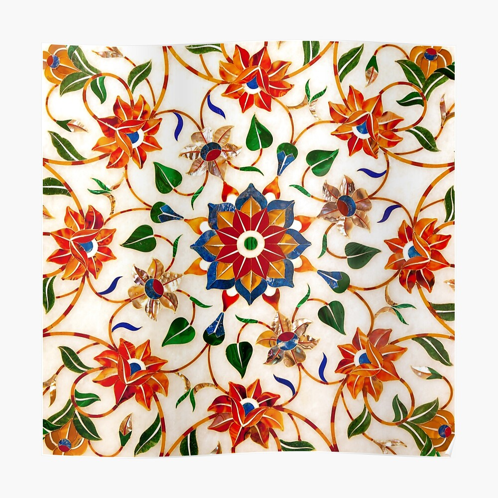 Diseño Floral Taj Mahal Póster