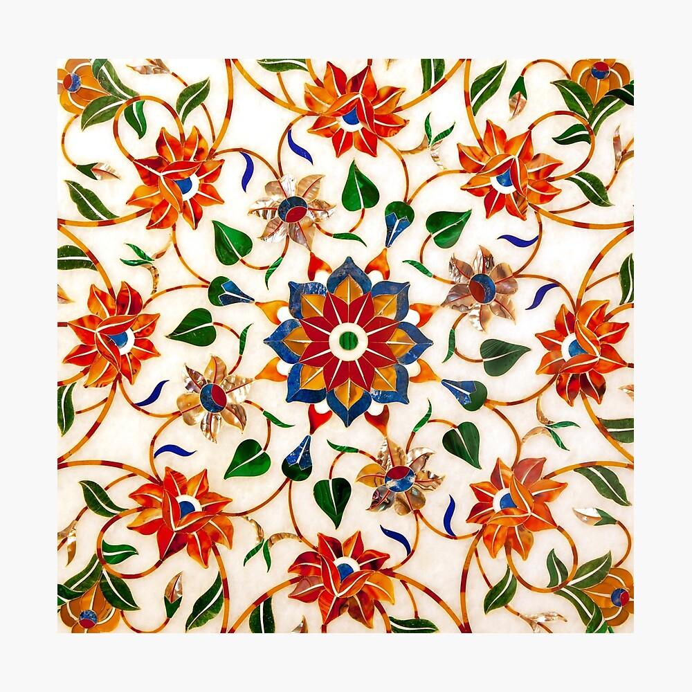 Diseño Floral Taj Mahal Lámina fotográfica