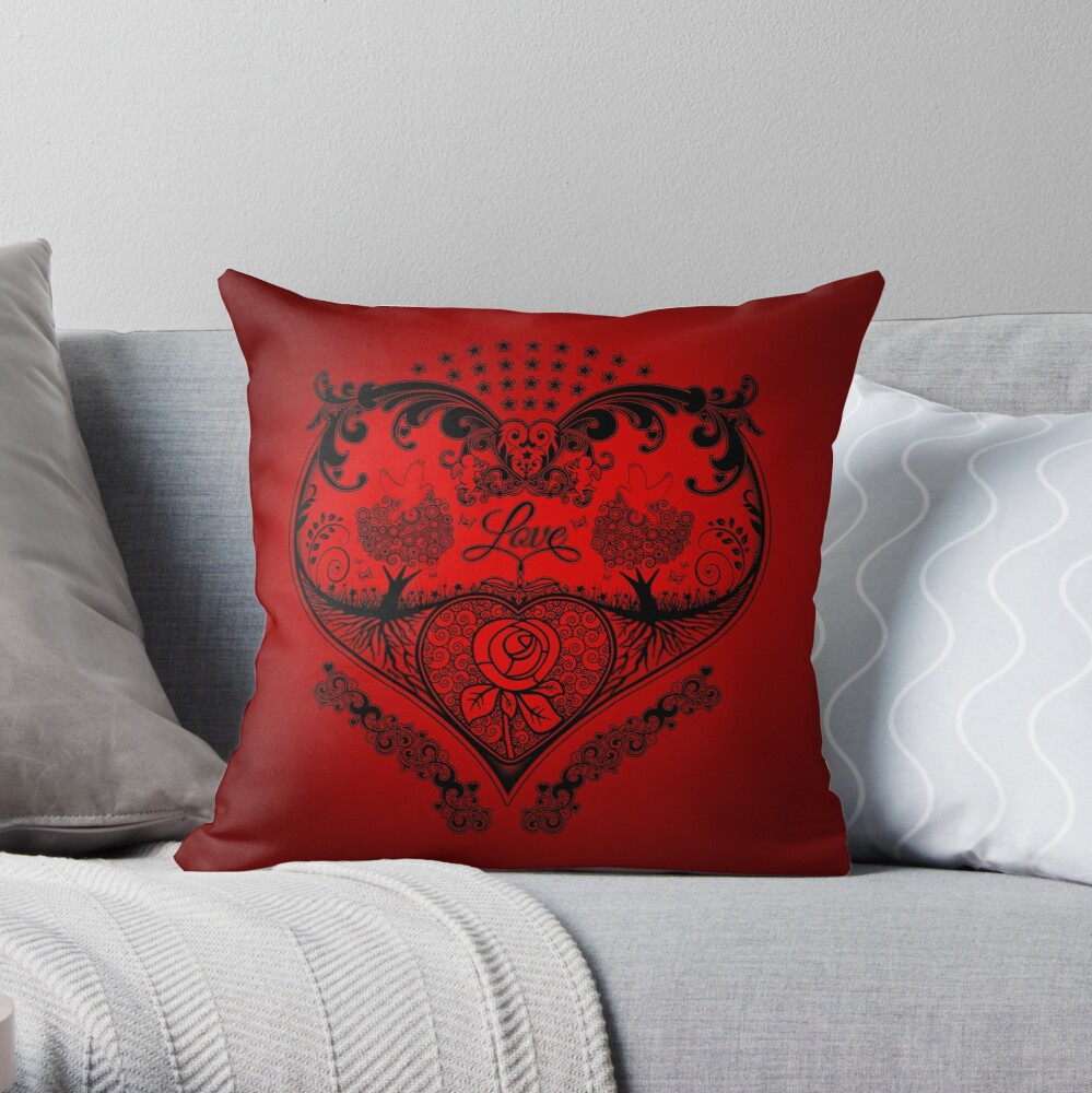 LOVE HEART - Black/Red Throw Pillow
