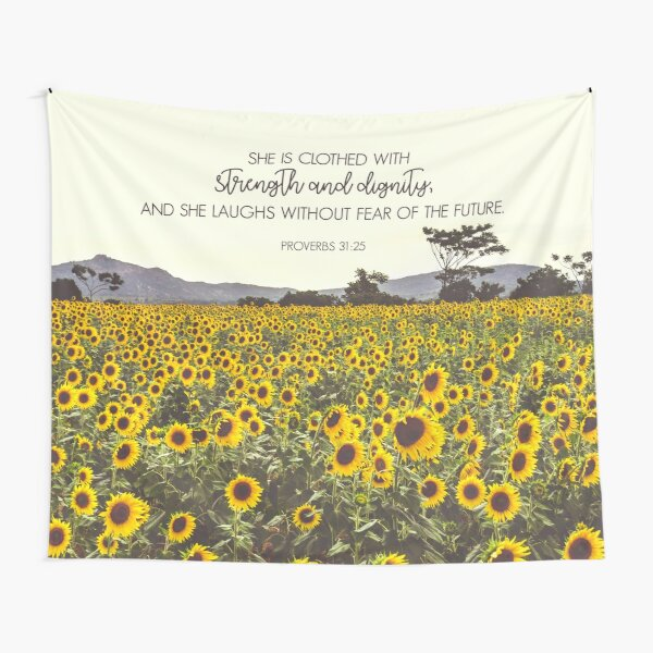 Proverbs and Sunflowers Tapestry