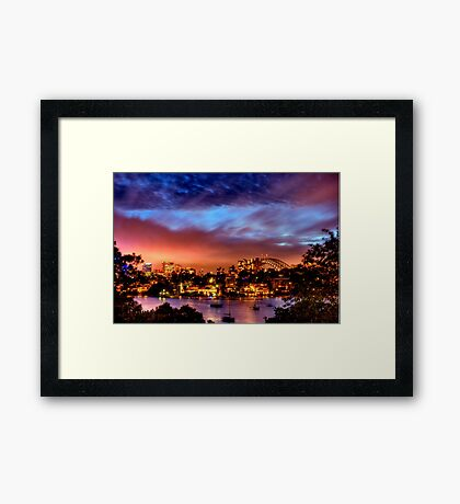 Sydney Harbour - Before New Year's Eve Fireworks Framed Print