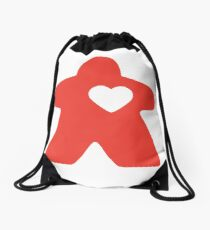 Meeple Love - red Drawstring Bag