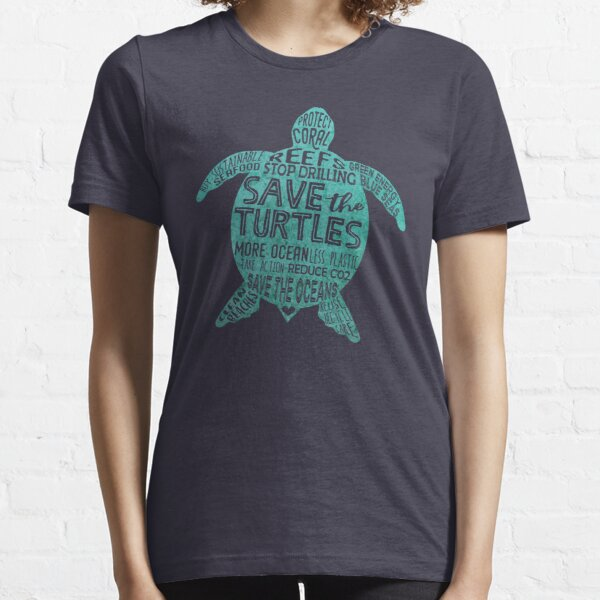 Save the Turtles - Silhouette Words Essential T-Shirt