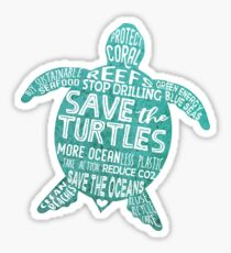 Save the Turtles - Silhouette Words Sticker