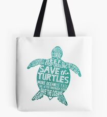 Save the Turtles - Silhouette Words Tote Bag