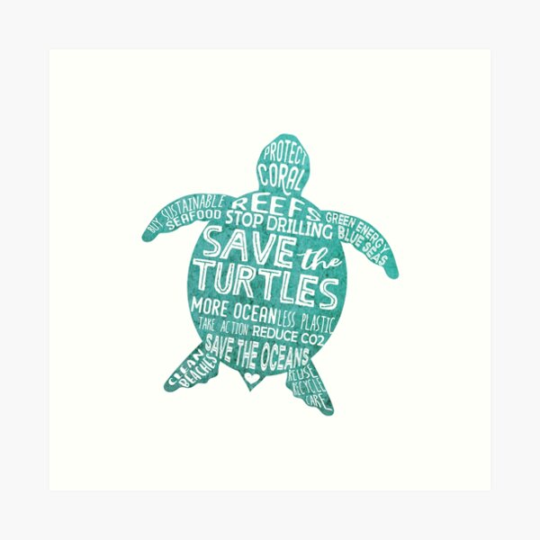 Save the Turtles - Silhouette Words Art Print