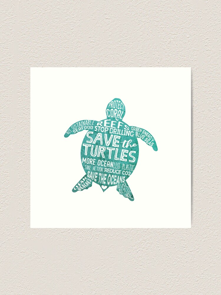 Alternate view of Save the Turtles - Silhouette Words Art Print
