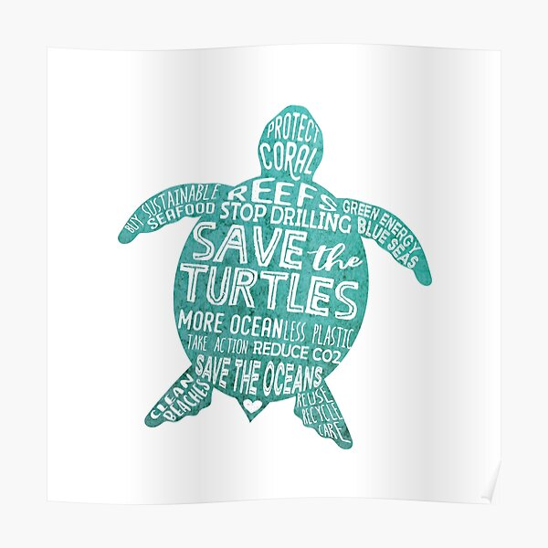 Save the Turtles - Silhouette Words Poster