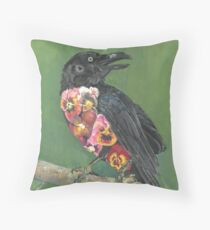 Crow in Bloom Throw Pillow