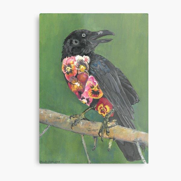 Crow in Bloom Metal Print