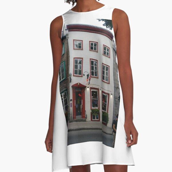 Quebec City, #QuebecCity, #Quebec, #City, #Canada, #buildings, #streets, #places, #views, #nature, #people, #tourists, #pedestrians A-Line Dress
