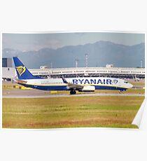 Ryanair Boeing 737-800 Next Gen, (EI-FRI ), ready for take off. at Milan, Italy Poster
