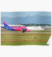 Wizz Air Hungary Airlines Ltd. Airbus A321-200 (HA-LTA) ready for takeoff at Linate Airport, Milan, Italy Poster