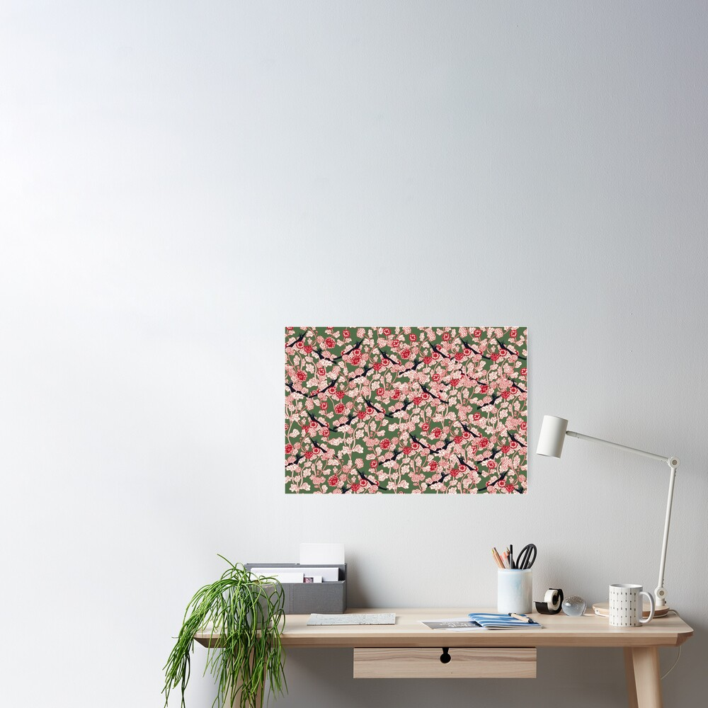 pattern with red flowers and blue bird Poster