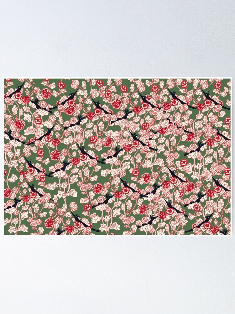 Alternate view of pattern with red flowers and blue bird Poster
