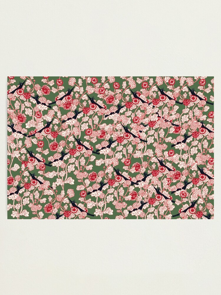 Alternate view of pattern with red flowers and blue bird Photographic Print