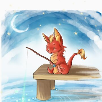Little Dragon Gone Fishing by chaoslavawolf