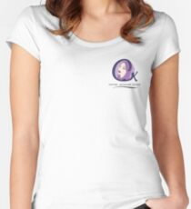 Cristina K Face Graphic Pocket (Purple) Women's Fitted Scoop T-Shirt