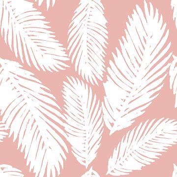 White Tropical Palm Tree Fern Leaf on Rose Gold by julieerindesign