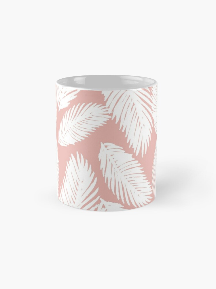 Alternate view of White Tropical Palm Tree Fern Leaf on Rose Gold Mug