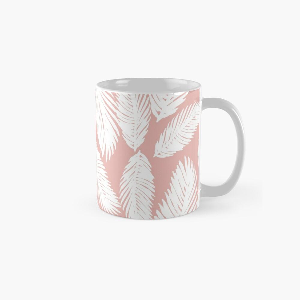 White Tropical Palm Tree Fern Leaf on Rose Gold Mug