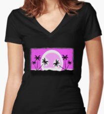 EGA sunset with pixel graphic Women's Fitted V-Neck T-Shirt