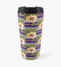 Sunflowers on Green and Purple Background Travel Mug