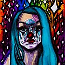 Sad Clown With Blue Hair by Kari Sutyla