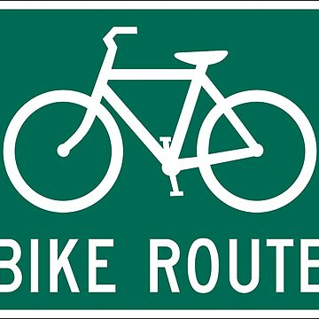Bike Route Sign with Bicycle by madphotoart