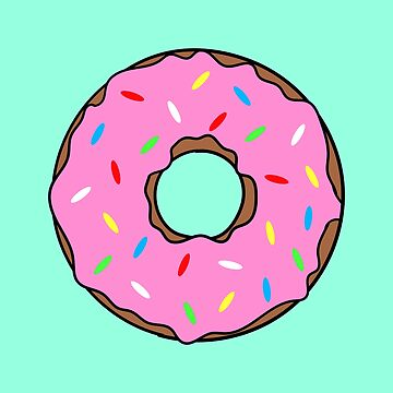 Yummy Pink Donut with Mint Background by snidget