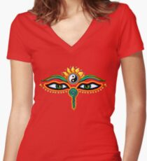 Buddha eyes, symbol wisdom & enlightenment, Women's Fitted V-Neck T-Shirt