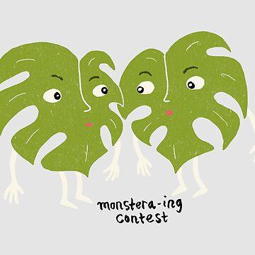 Monstera-ing Contest | Funny Plant Pun | Split Leaf Philodendron Illustration by ImaginaryAnimal